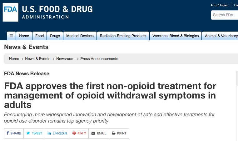 FDA批准首款非阿片类戒断新药