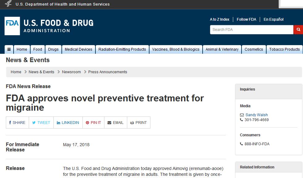 重磅!FDA批准首个预防偏头痛药物Aimovig