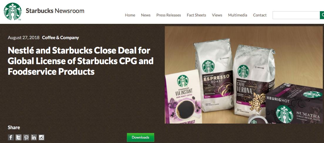 71.5亿美元!雀巢完成收购星巴克零售咖啡业务
