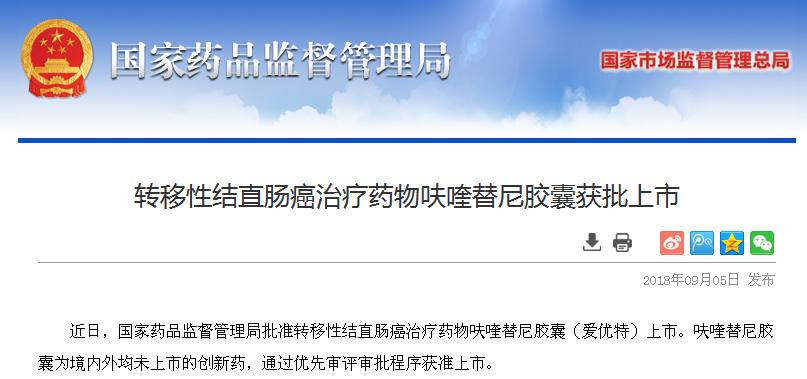 中国首个自主研发抗癌新药呋喹替尼获批上市