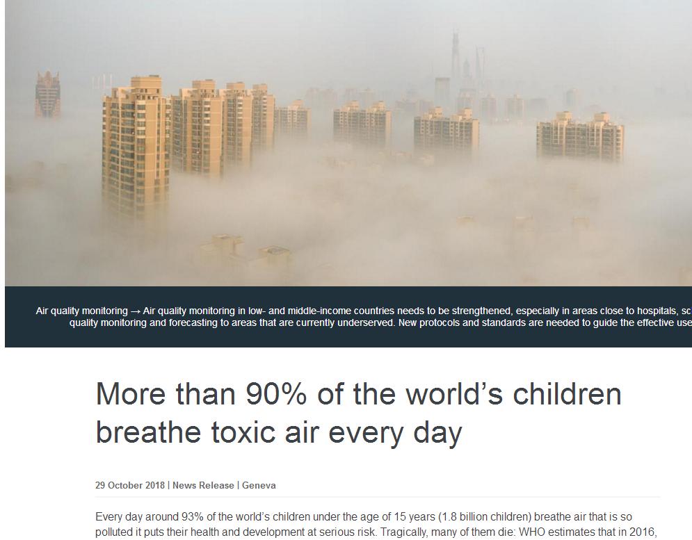 """世卫组织:致命!18亿儿童每天都在呼吸""""脏""""空气!"""