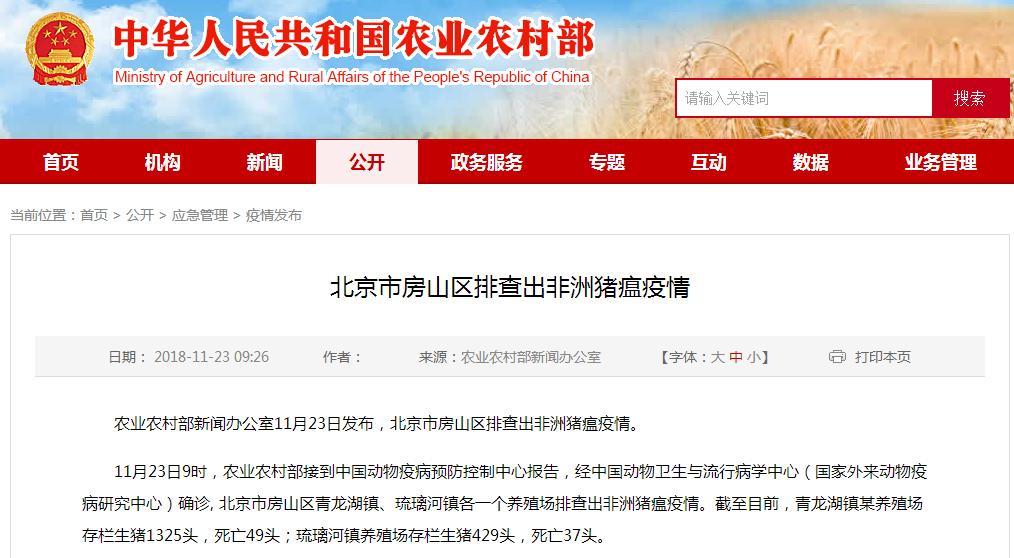 北京房山区排查出非洲猪瘟疫情 已无害化处理