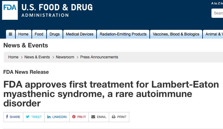 FDA批准首款罕见肌无力综合征疗法上市!