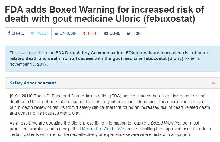 FDA警示武田痛风药非布司他会增加死亡风险!