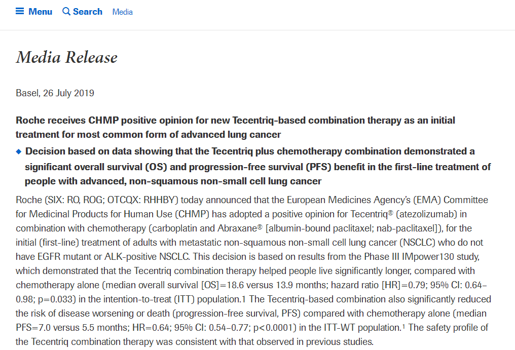 EMA建议批准罗氏Tecentriq联合化疗用于肺癌一线治疗