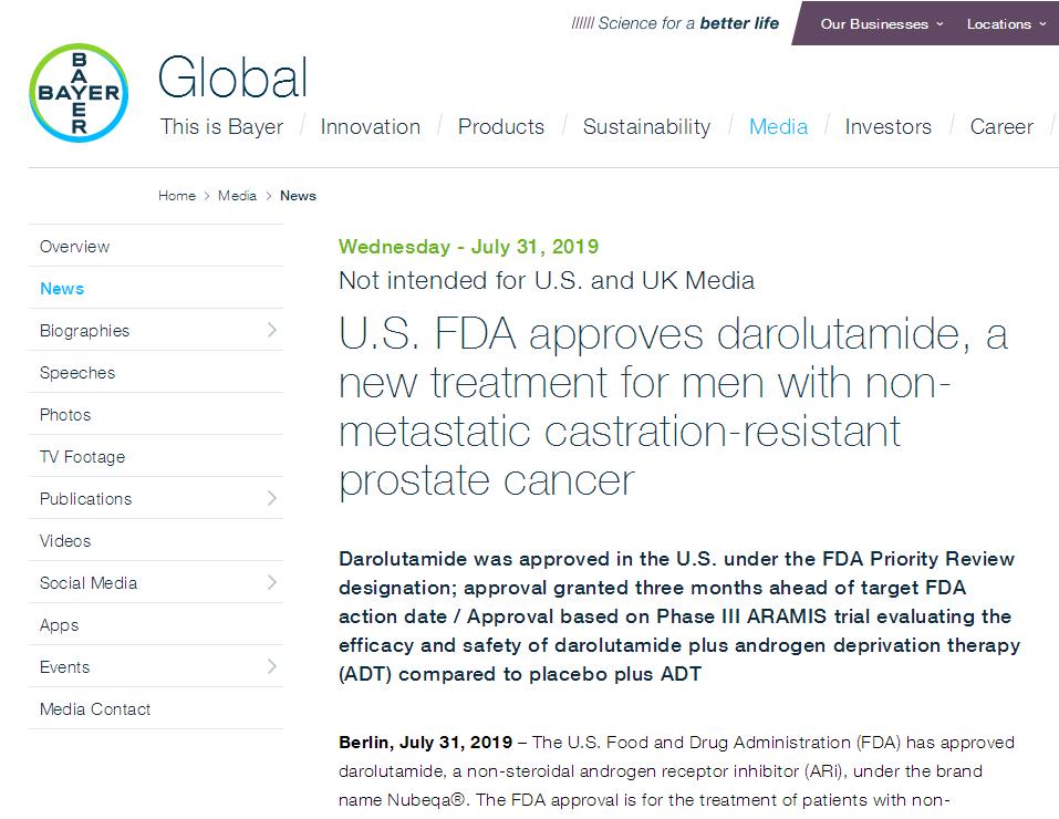 拜耳前列腺癌新药获FDA批准!这种患者通常无症状