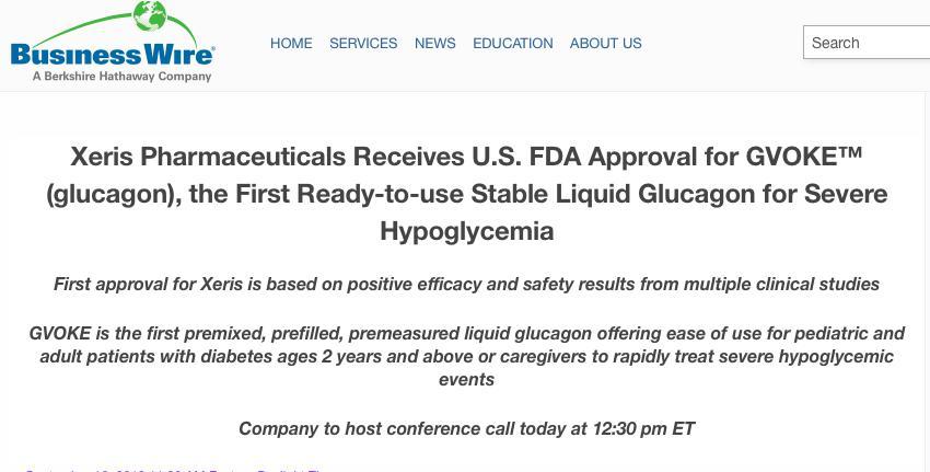FDA批准即用型胰高血糖素针剂上市