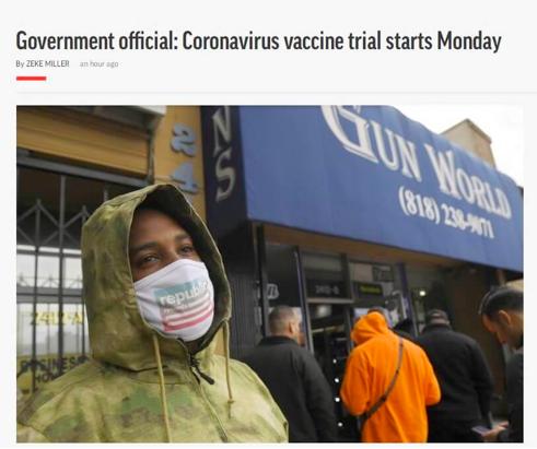 美国:新冠病毒疫苗临床试验今日开始