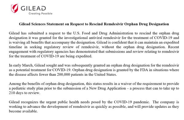 吉利德公司要求撤销瑞德西韦孤儿药资格!