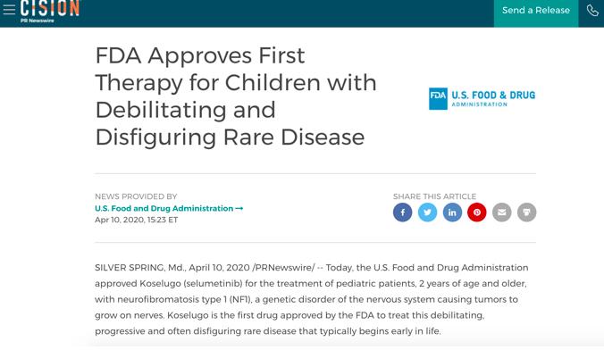 神经纤维瘤病患者新希望 FDA批准这一药物疗法
