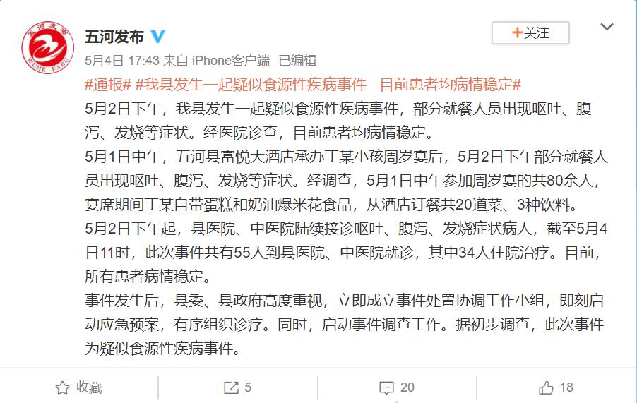 安徽五河55人參加周歲(sui)宴後嘔吐發(fa)燒